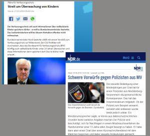 Ausschnitte aus Inhalten von tagesschau.de und ndr.de